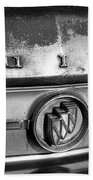 Rusty Buick Emblem Black And White Beach Towel