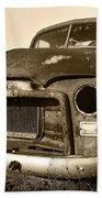 Rusty But Trusty Old Gmc Pickup Truck - Sepia Beach Sheet