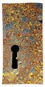 Rusty Key-hole Beach Towel by Carlos Caetano