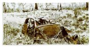 Rusty Old Holden Car Wreck  Beach Towel