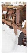 Rusty Old Steel Wheel Tractor In The Snow Tilt Shift Beach Towel