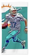 Ryan Tannehill Miami Dolphins Oil Art Beach Towel