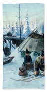 Saami Family At The Hut Beach Towel