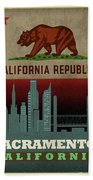 Sacramento City Skyline State Flag Of California Art Poster Series 023 Beach Towel