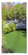 Sacred Cenote Vertical View Beach Towel