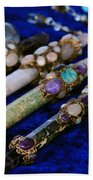 Sacred Gemstones Energy Amulets Crystal Balls Magic Wands Beach Towel