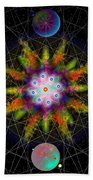 Sacred Planetary Geometry - Dark Red Atom Beach Towel