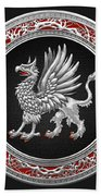 Sacred Silver Griffin On Black Leather Beach Towel