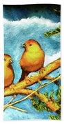 Saffron Finch Birds #88 Beach Towel