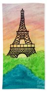 Saffron Sunset Over Eiffel Tower In Paris-watercolour  Beach Towel