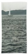 Sailboat And Waves, Piscataqua River, Maine 2004 Beach Towel