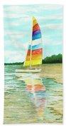 Sailboat Reflection Beach Towel