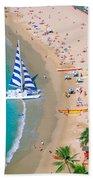 Sailboat At Waikiki Beach Towel