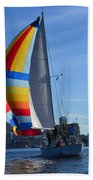 Sailboat In Seattle Beach Towel