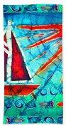 Sailboat In The Sun Beach Towel