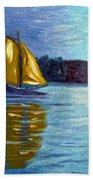 Sailboat-  Sailing- Come Sail Away Beach Towel