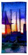 Sailboats At Rest Beach Towel