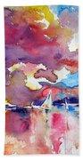 Sailboats At Sunset Beach Towel
