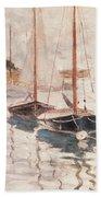 Sailboats On The Seine Beach Towel