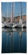 Sailboats Reflected Beach Towel