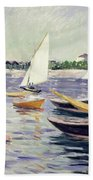 Sailing Boats At Argenteuil Beach Towel