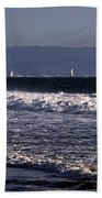 Sailing In Santa Monica Beach Towel