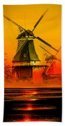Sailing Romance Windmills Beach Towel