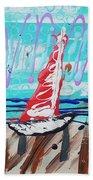 Sailing The Coast Abstract Beach Towel