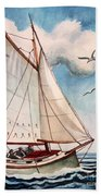 Sailing Through Open Waters Beach Towel