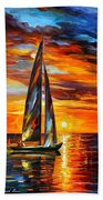 Sailing With The Sun - Palette Knife Oil Painting On Canvas By Leonid Afremov Beach Towel