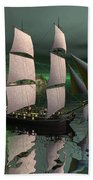 Sailship In The Night Beach Towel