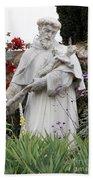 Saint Francis Statue In Carmel Mission Garden Beach Towel