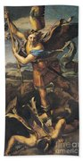 Saint Michael Overwhelming The Demon Beach Towel