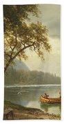 Salmon Fishing On The Caspapediac River Beach Towel by Albert Bierstadt