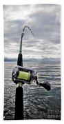 Salmon Fishing Rod Beach Towel by Darcy Michaelchuk