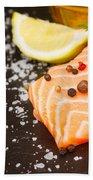 Salmon Steak And Spices Beach Towel