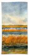 Salt Marsh And Snow Geese Beach Sheet