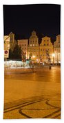 Salt Square In Wroclaw At Night Beach Sheet