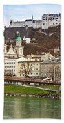 Salzburg City And Fortress  Beach Towel