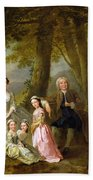 Samuel Richardson Seated With His Family Beach Towel