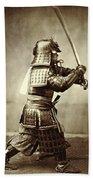 Samurai With Raised Sword Beach Towel