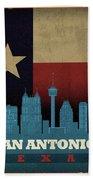 San Antonio City Skyline State Flag Of Texas Art Poster Series 022 Beach Towel