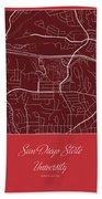 San Diego State Street Map - San Diego State University San Dieg Beach Towel