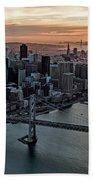 San Francisco City Skyline At Sunset Aerial Beach Towel