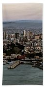 San Francisco City Skyline Panorama At Sunset Aerial Beach Towel