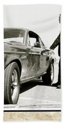 San Francisco Museum Of Art, Frank Bullitt, Steve Mcqueen, Ford Mustang Gt 390, Fastback Beach Towel