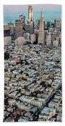 San Francisco Skyline And Coit Tower Beach Towel