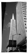 San Francisco - Transamerica Pyramid Bw Beach Towel
