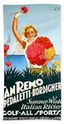 San Remo, Italian Riviera, Girl With Flowers Beach Sheet