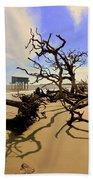 Sand Sun Beach And Little Blue Beach Towel by Lisa Wooten